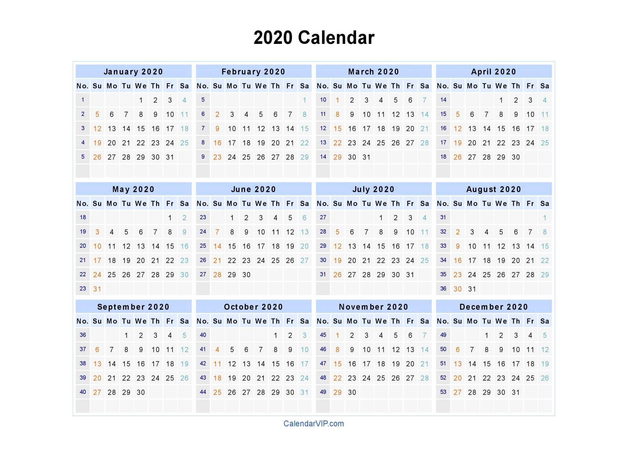 2020 Calendars To Fill In - Calendar Inspiration Design