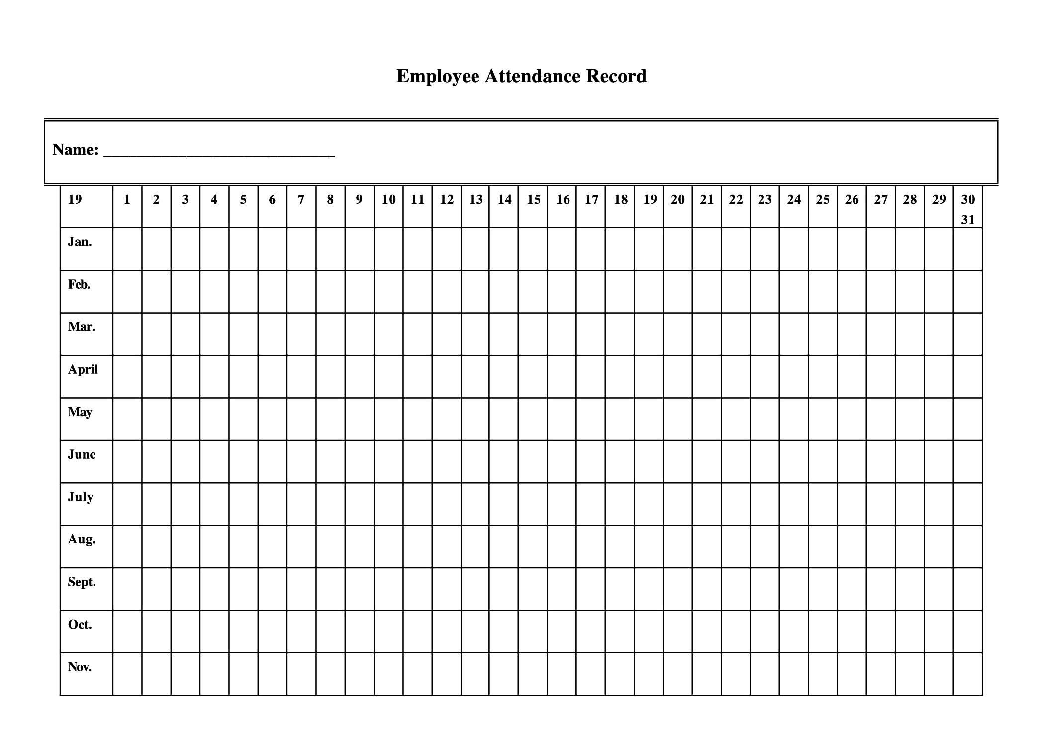 2020 Employee Attendance Calendar Pdf – Template Calendar