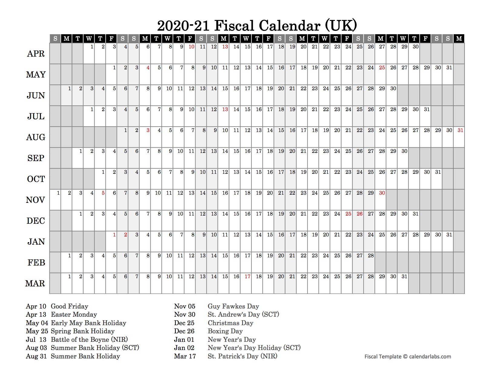2020 Fiscal Year Calendar - Free Printable Templates
