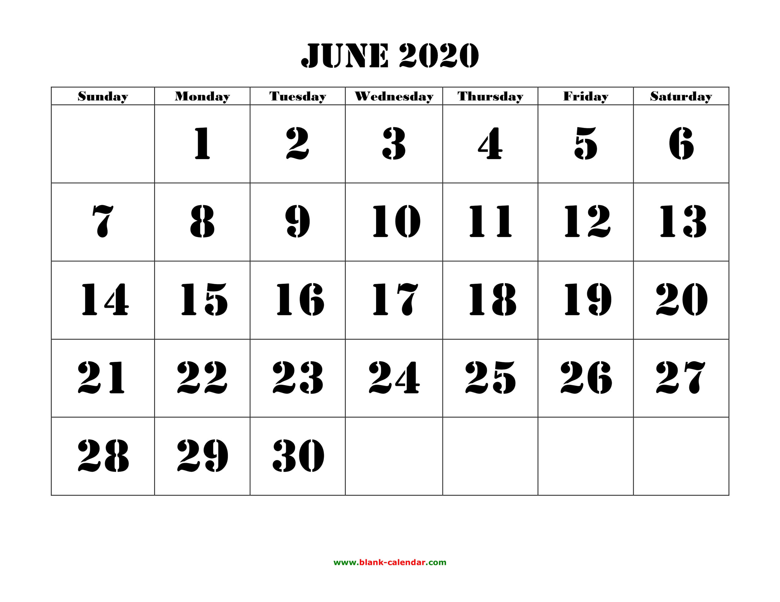 2020 Free Printable Calendar Large Numbers | Calendar