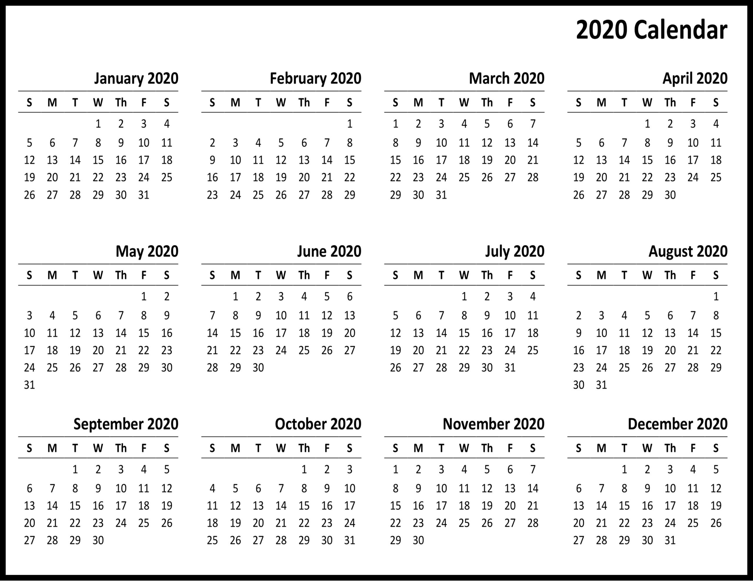 2020 Printable Calendar Sunday To Saturday | Calendar
