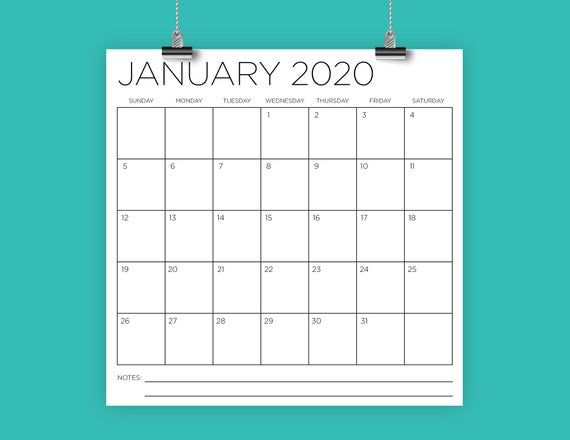 2020 Square 12X12 Calendar | Instant Download | Large