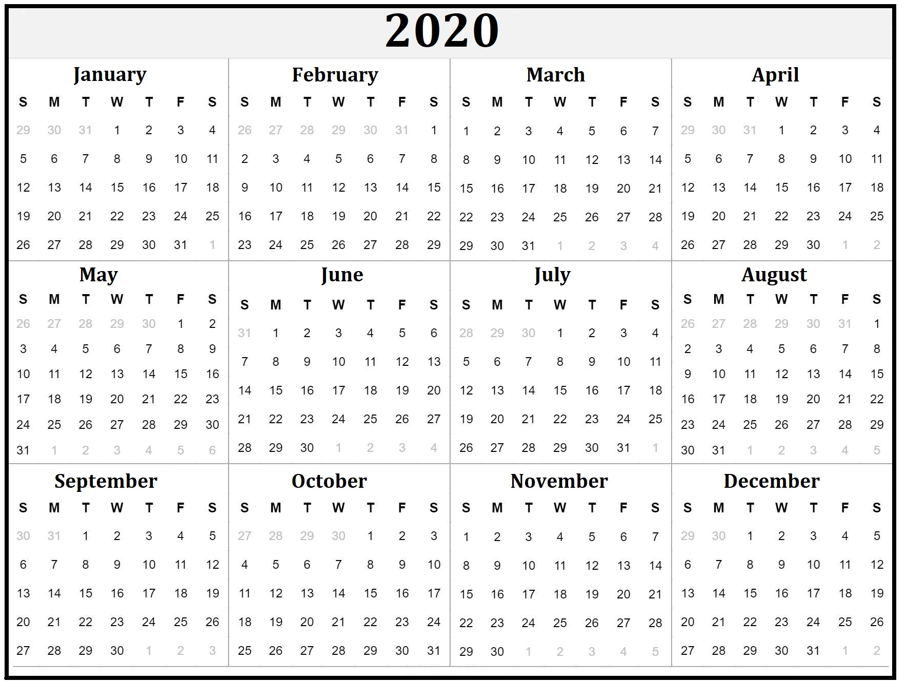 2020 Yearly Calendar Download Sunday Through Saturday