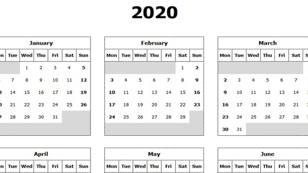 2020 Yearly Calendar Download Sunday Through Saturday