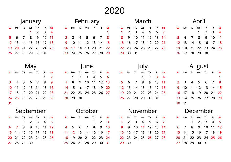 2020 Yearly Calendar - Free Download Jpg Format