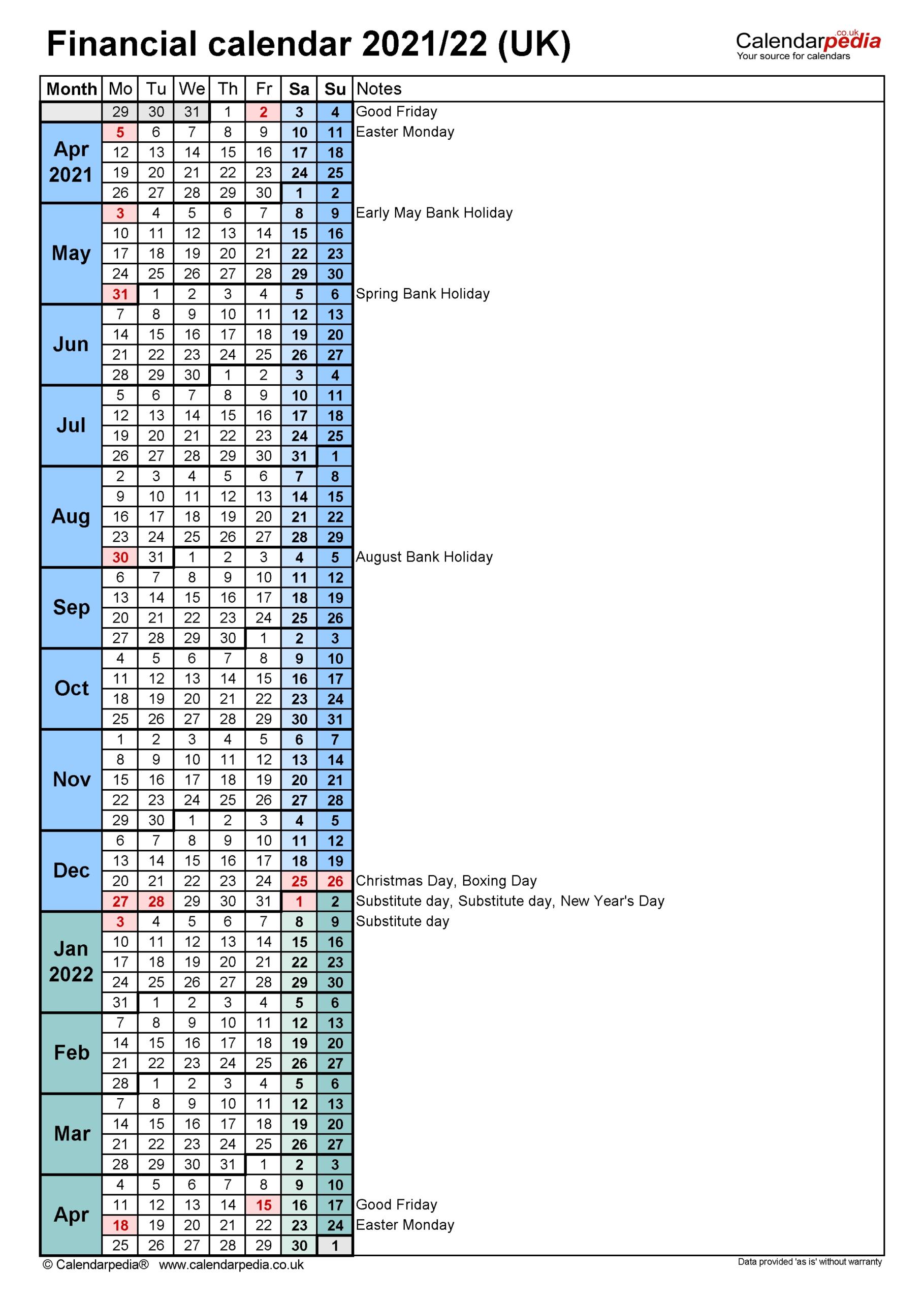 2021/19 Financial Year Calendar Australia – Template