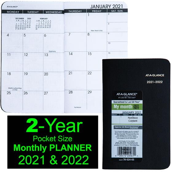 2021 & 2022 At-A-Glance 70-024 Two Year Monthly Planner, 3