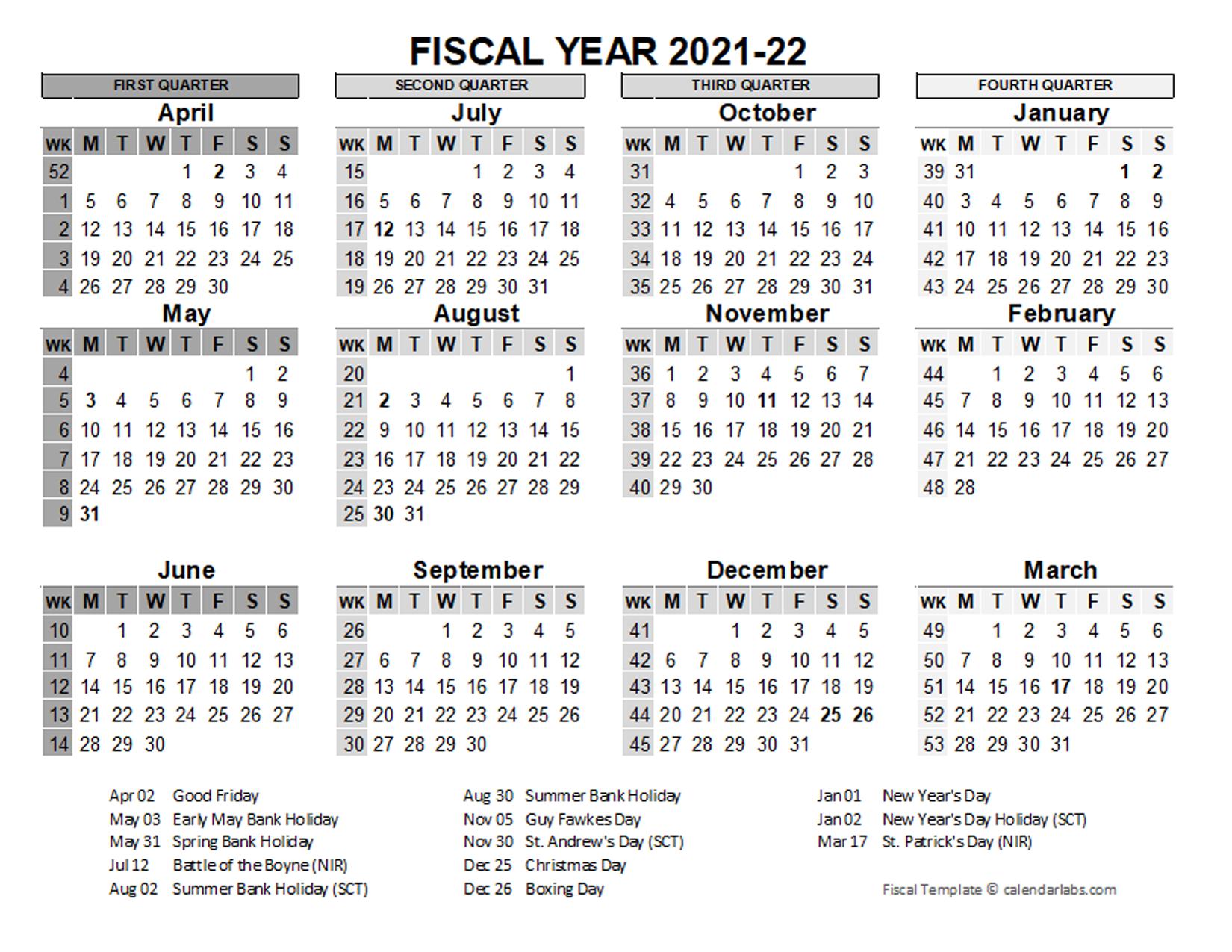 2021-2022 Fiscal Calendar Uk Template - Free Printable