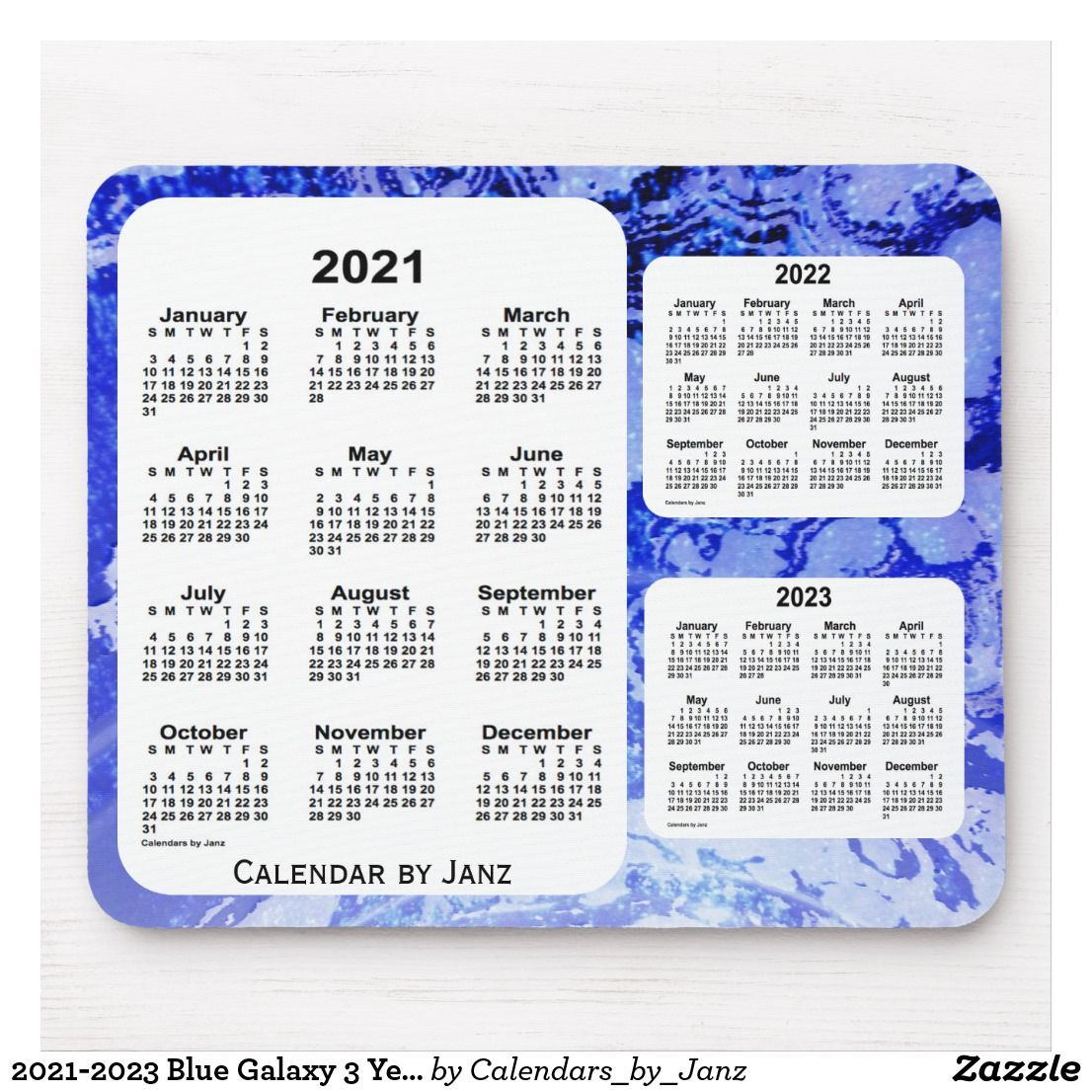 2021-2023 Blue Galaxy 3 Year Calendar By Janz Mouse Pad