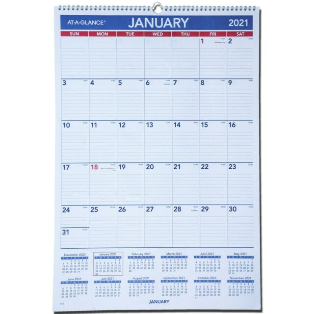2021 At-A-Glance Pm3-28 Monthly Wall Calendar 15-1/2 X 22