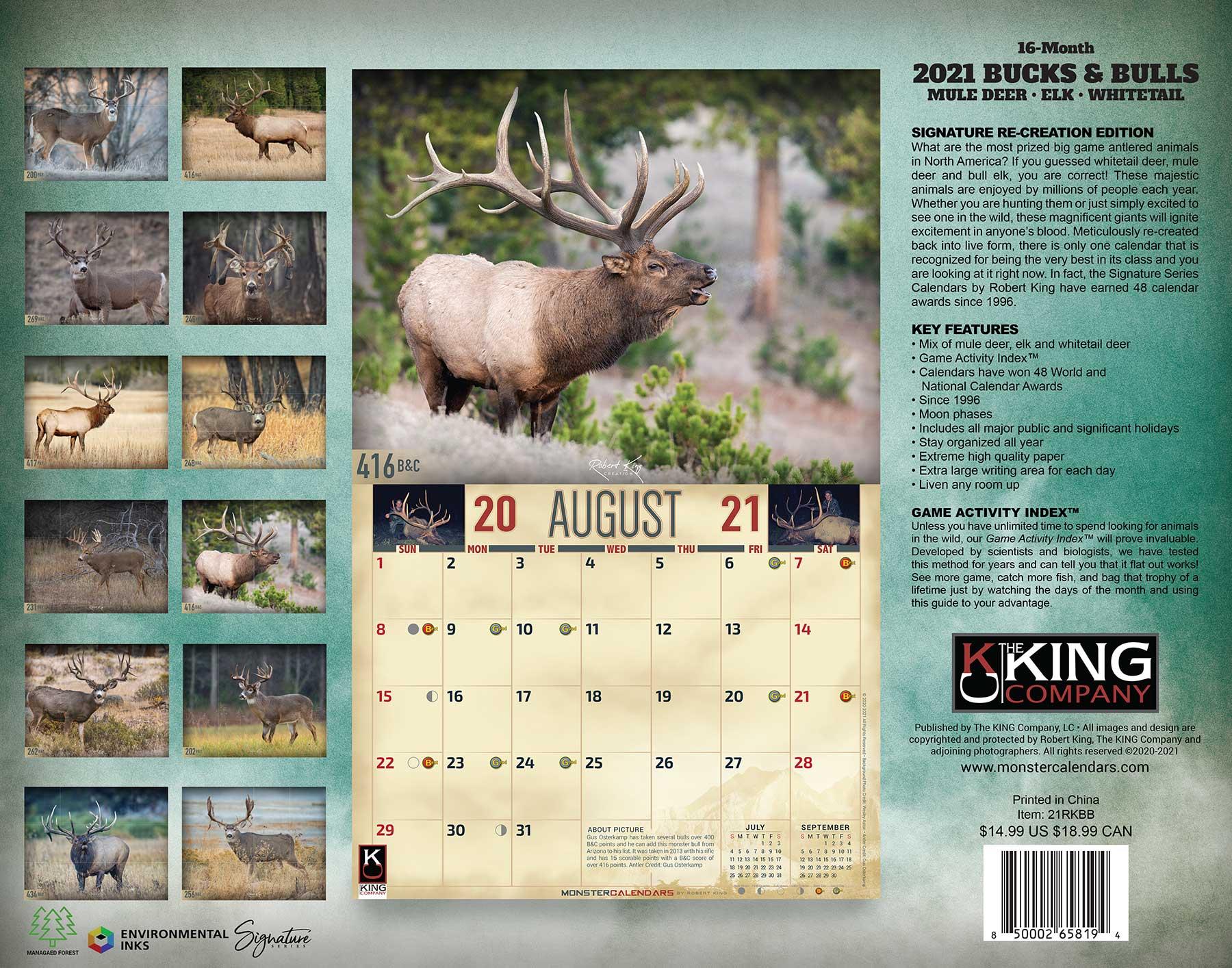 2021 Bucks & Bulls Calendar, 2021 Whitetail Deer Mule Deer