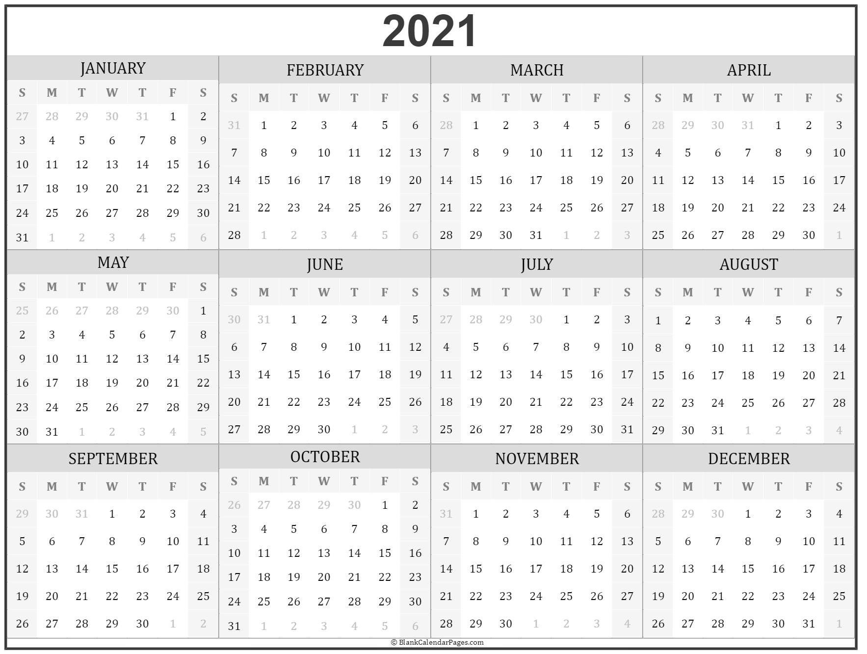 2021 Calendar - Free Download Printable Calendar Templates