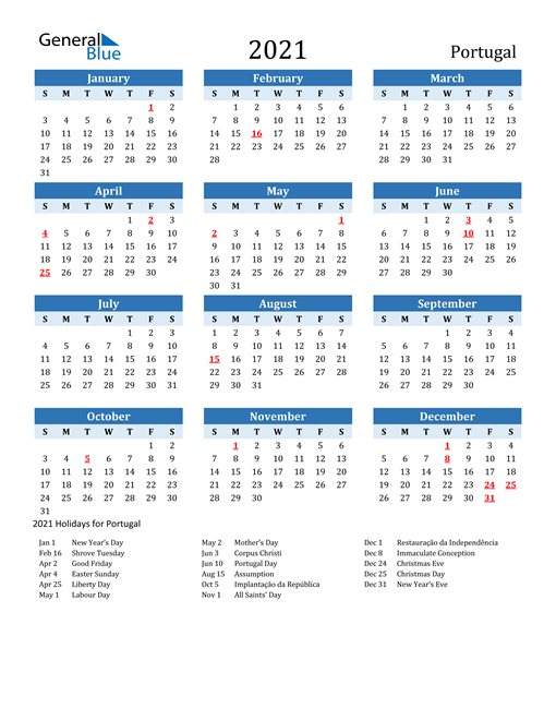 2021 Calendar - Portugal With Holidays