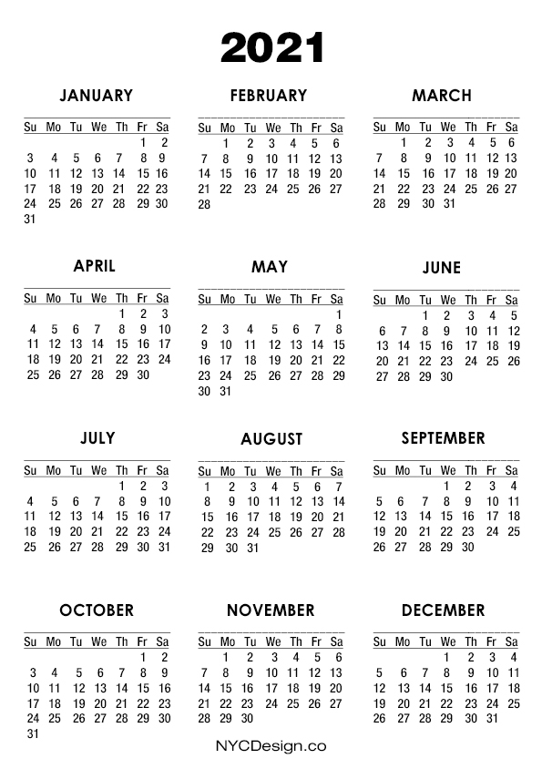 2021 Calendar Printable – A4 Paper Size, White – Sunday