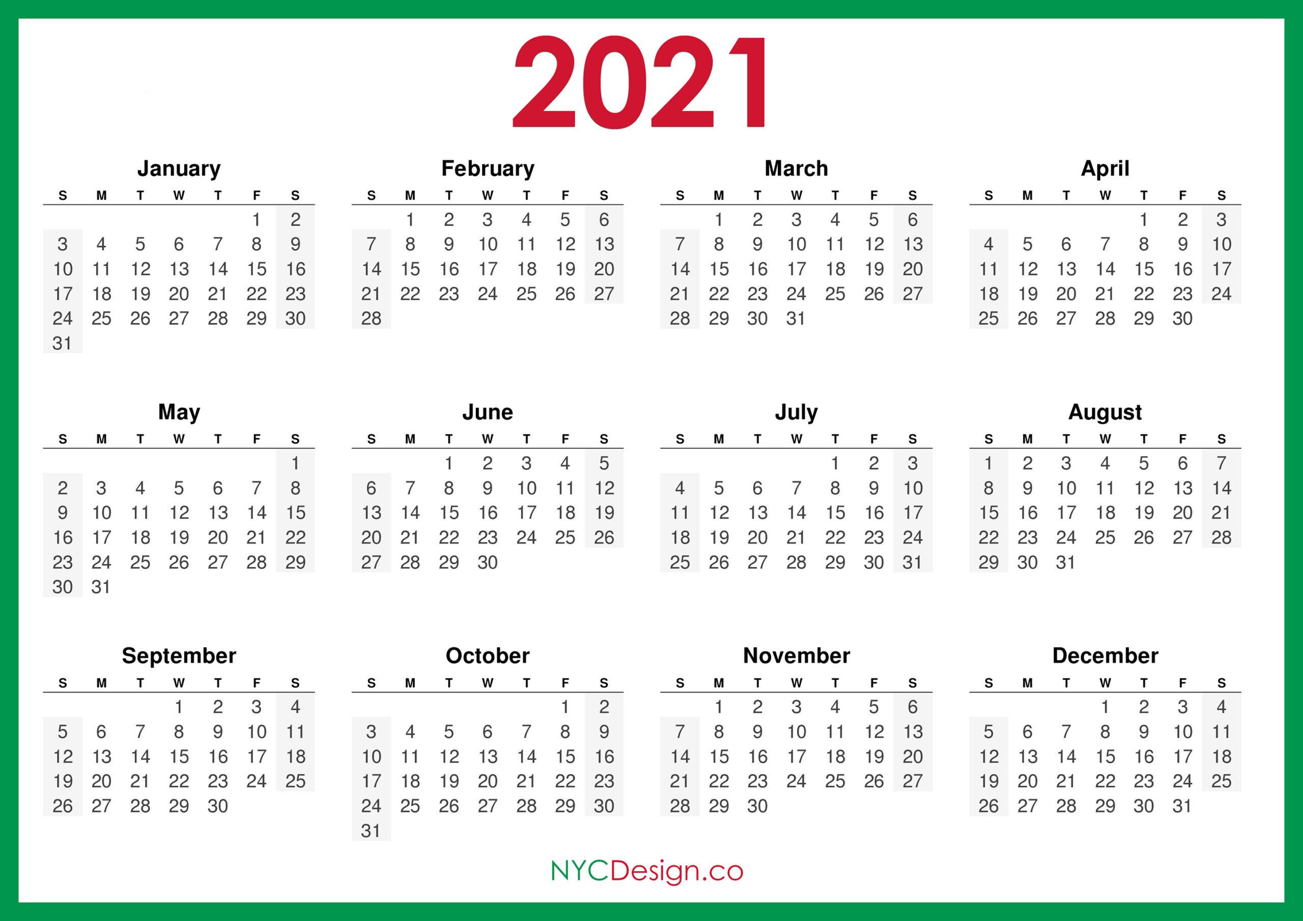 2021 Calendar Printable Free, Horizontal, Green, Hd