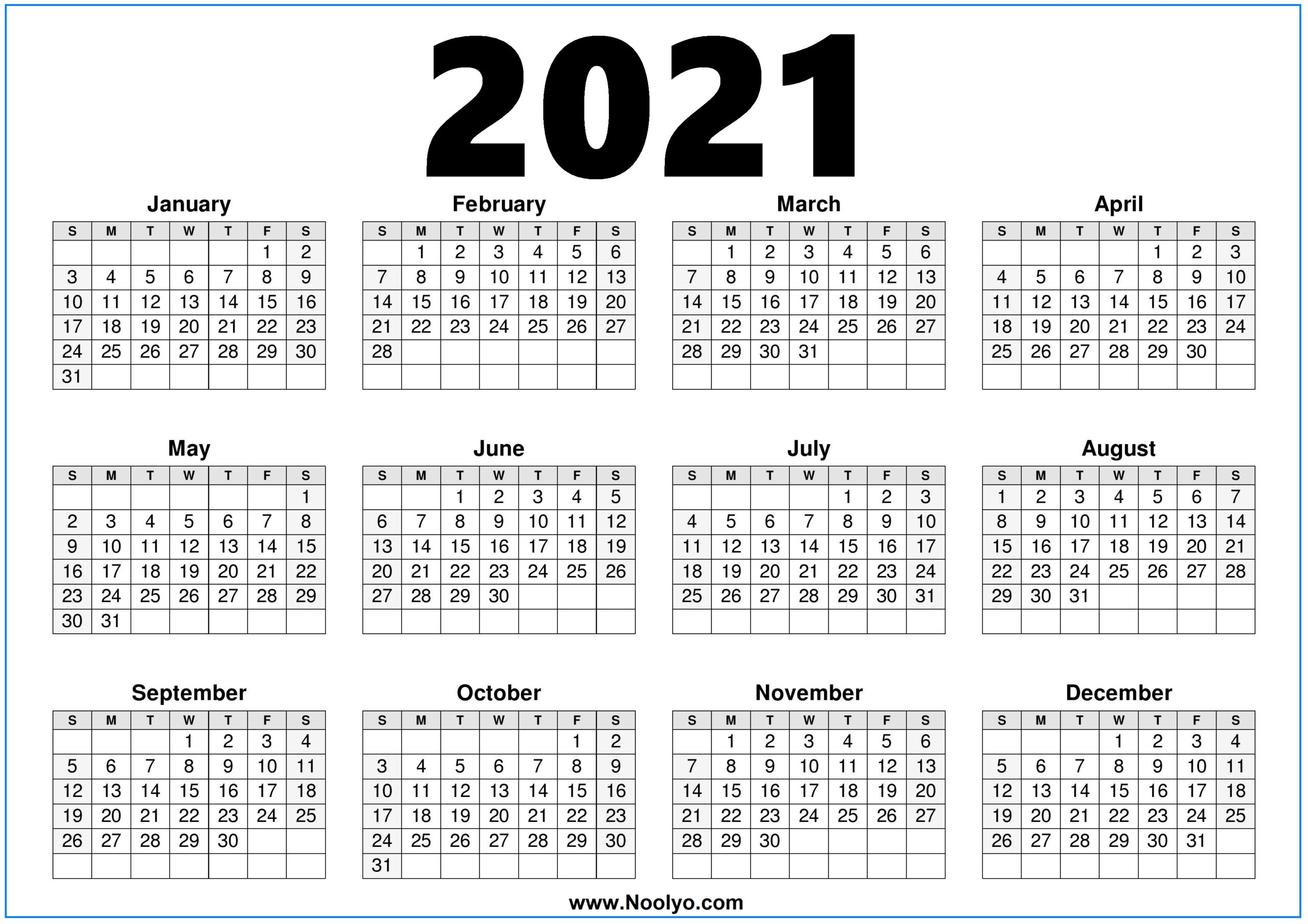 2021 Calendar Printable Free One Page – Noolyo