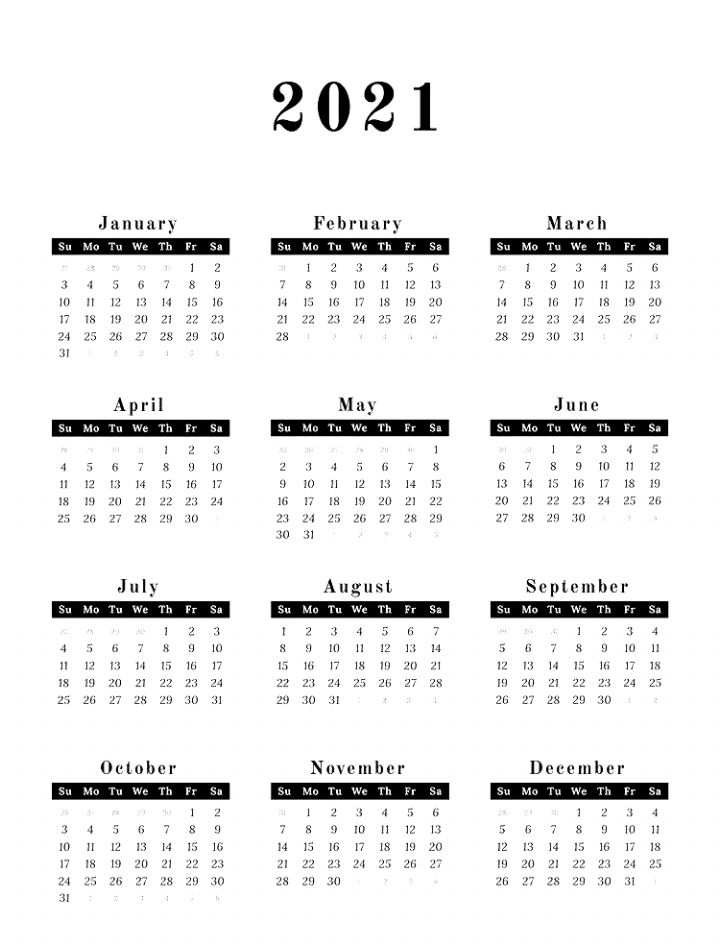 2021 Calendar Printable In 2020 | 2021 Calendar, Calendar