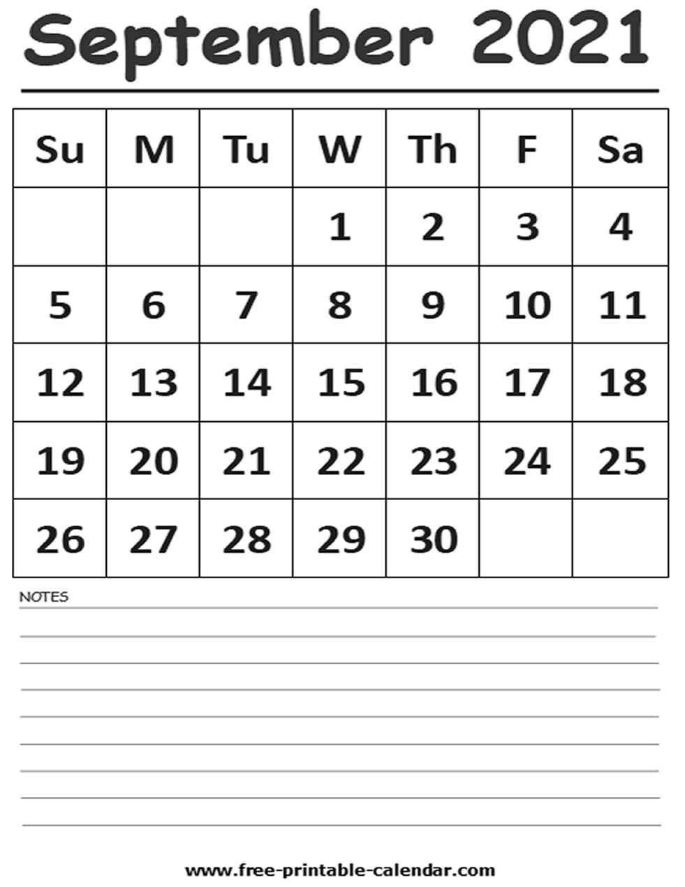 2021 Calendar September Printable - Free-Printable