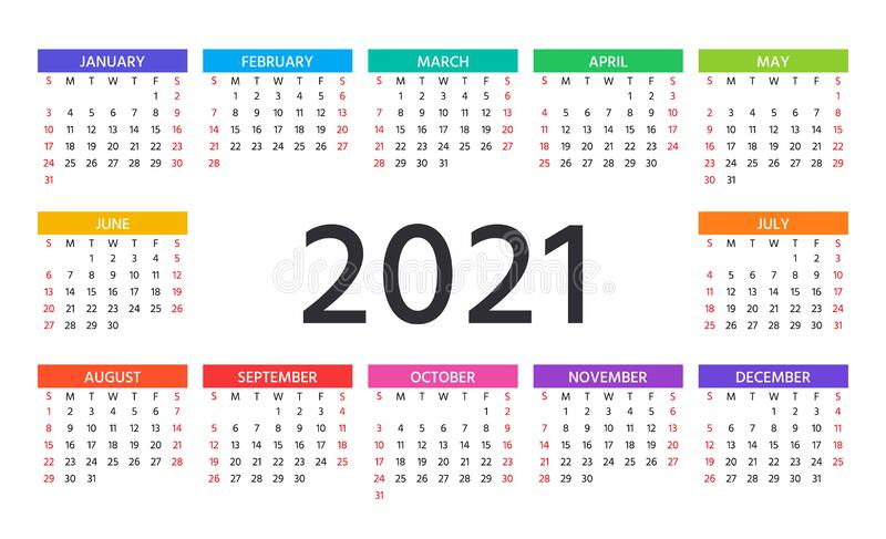 2021 Calendar. Vector Illustration. Template Year Planner