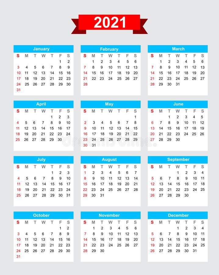 2021 Calendar Week Start Sunday Stock Vector