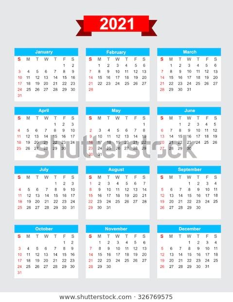 2021 Calendar Week Start Sunday Vector เวกเตอร์สต็อก (ปลอด