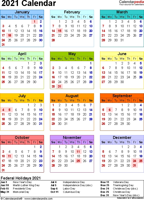 2021 Calendar With Week Numbers Free 365 Days | Calvert Giving