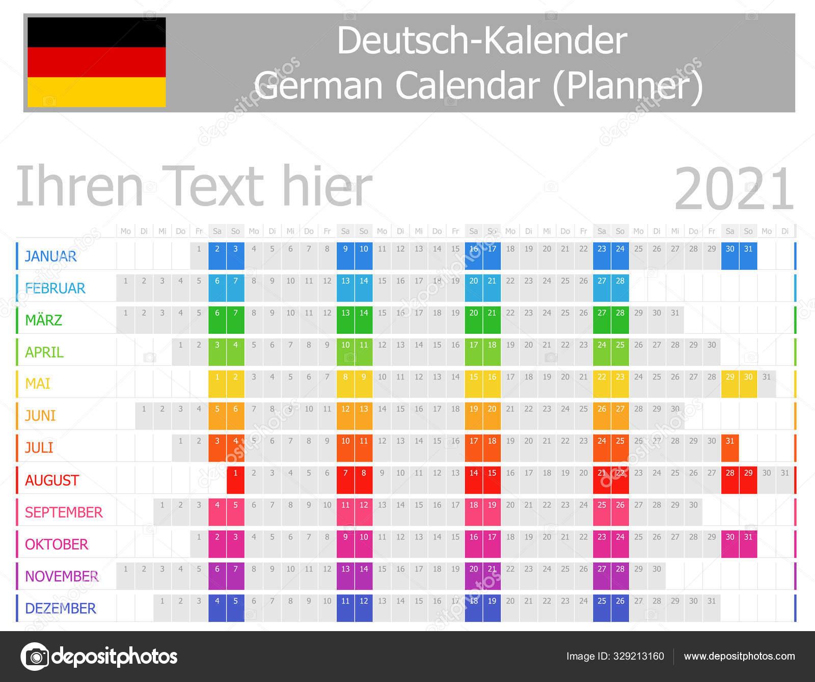 2021 Німецький Календар Планування Місяцями Горизонту