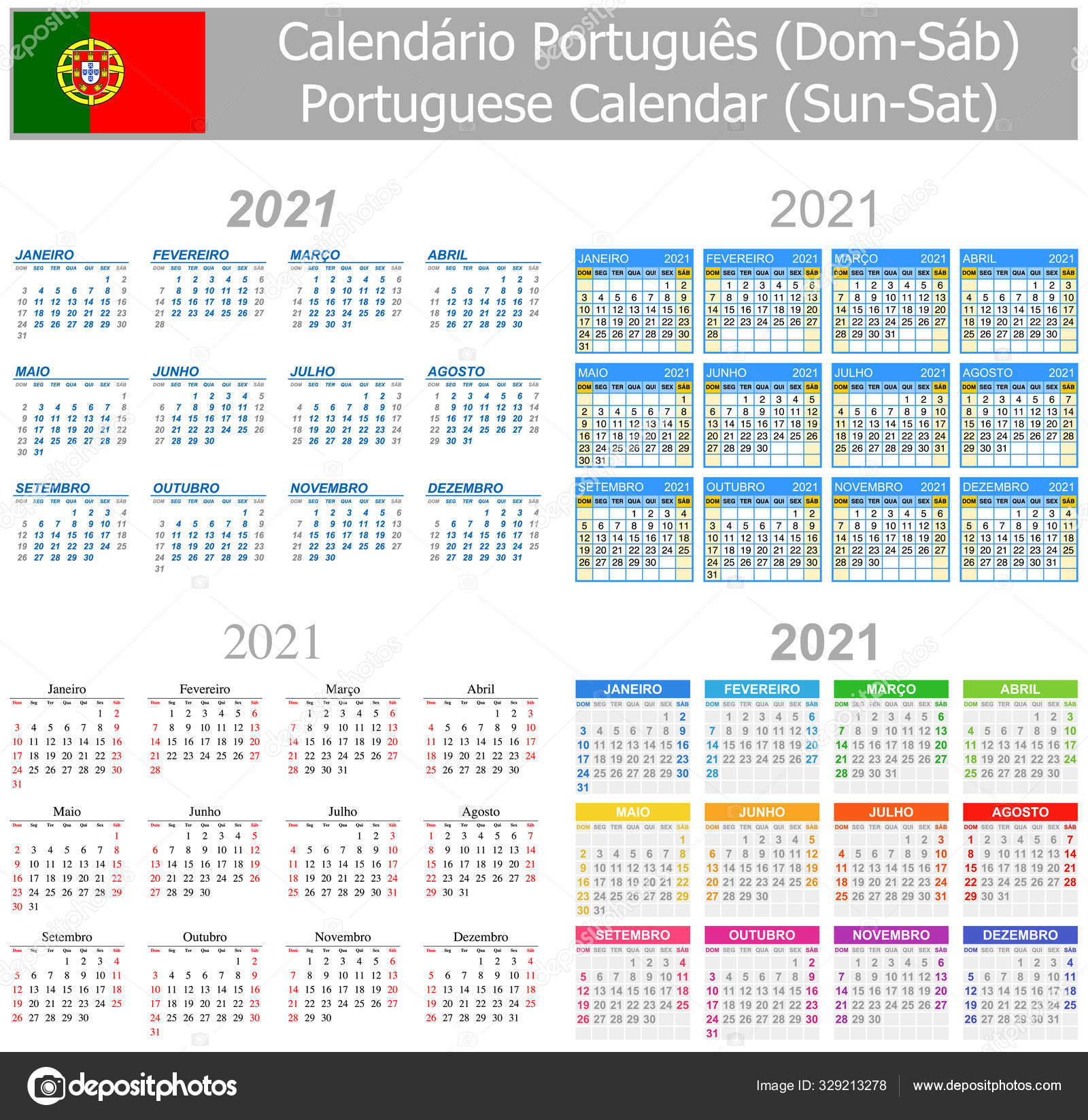 2021 Португальський Календар Мікс Sun Sat Білому Тлі