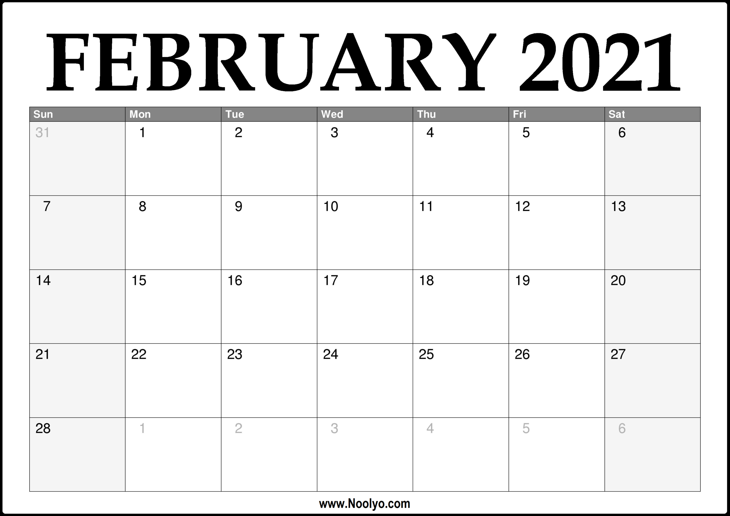 2021 February Calendar Printable – Download Free – Noolyo