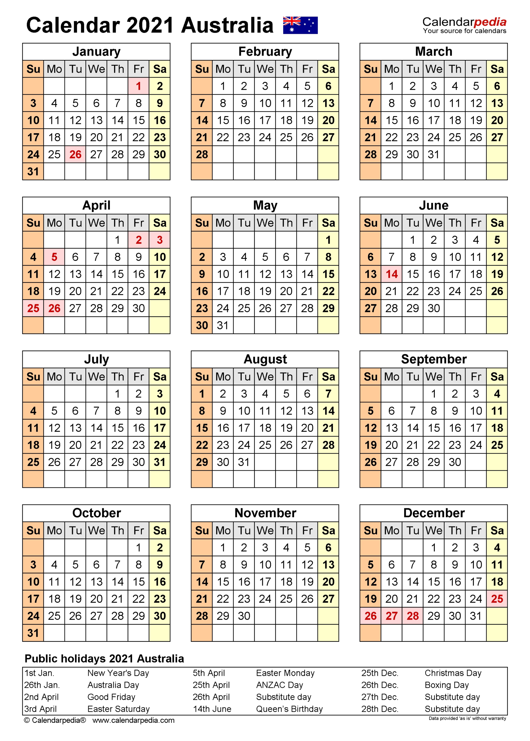 2021 Financial Calendar Australia – Template Calendar Design