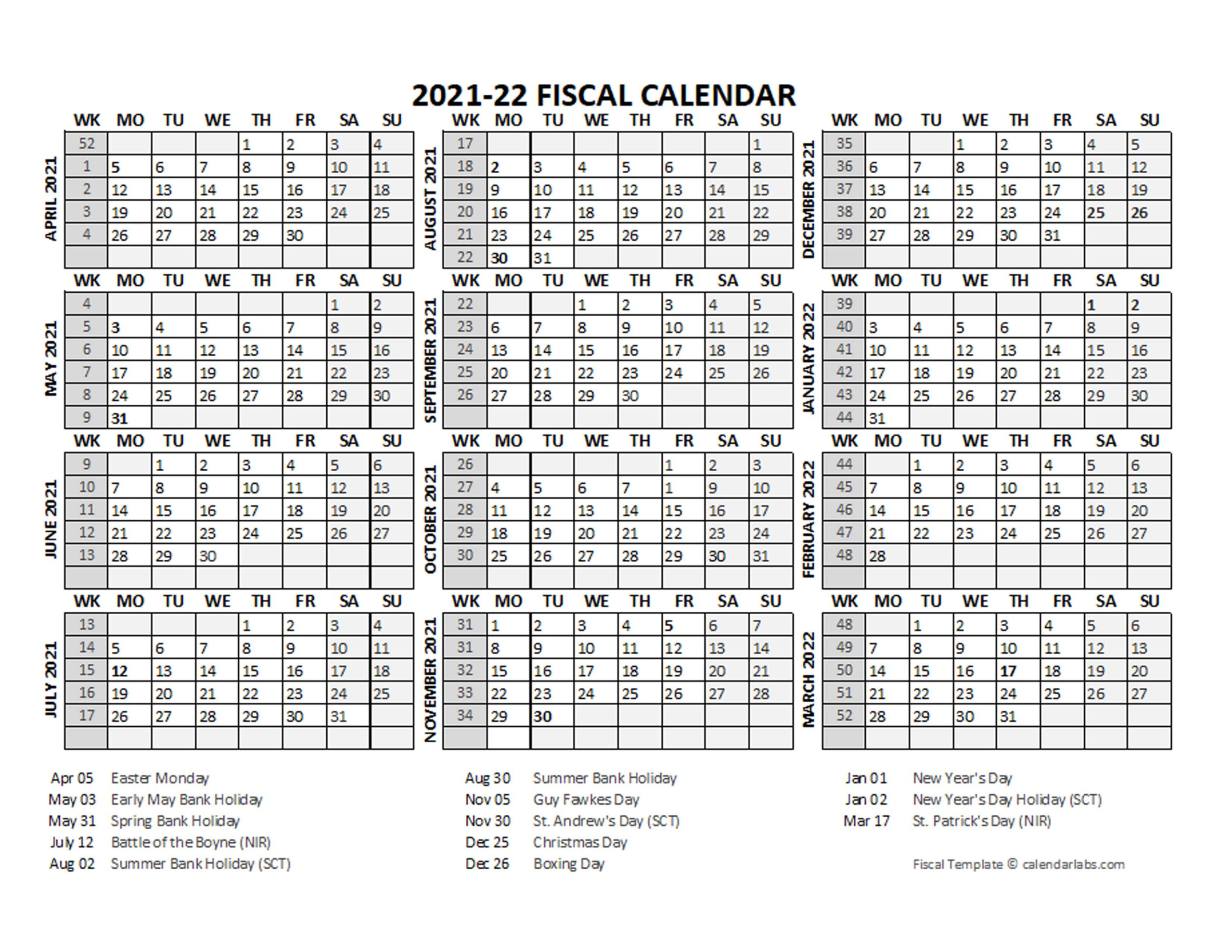2021 Fiscal Calendar Template Starts At April - Free