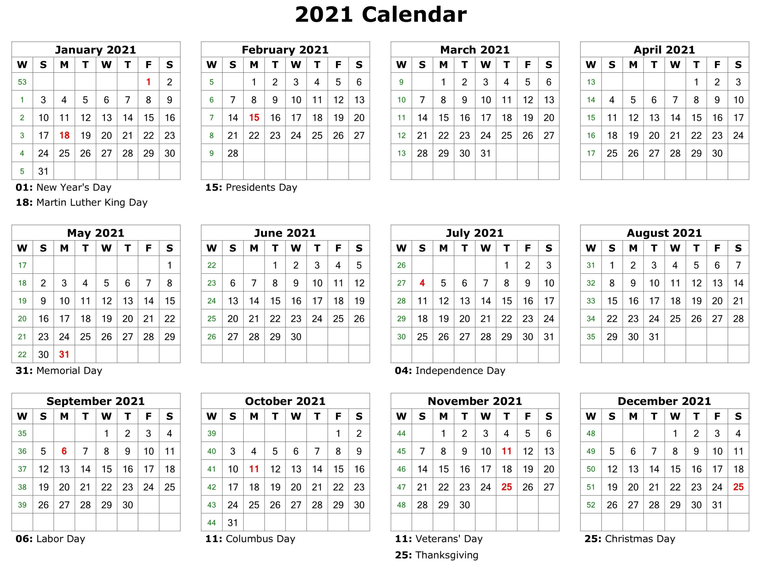 2021 Holidays - Free Download Printable Calendar Templates