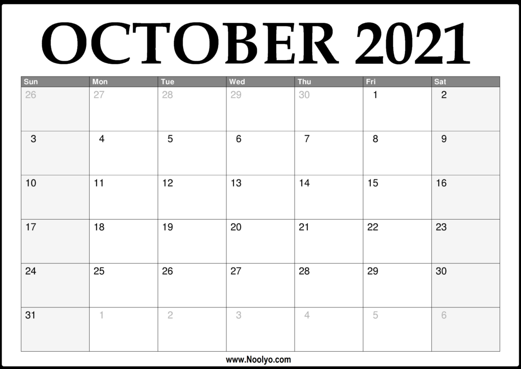 2021 October Calendar Printable – Download Free – Noolyo