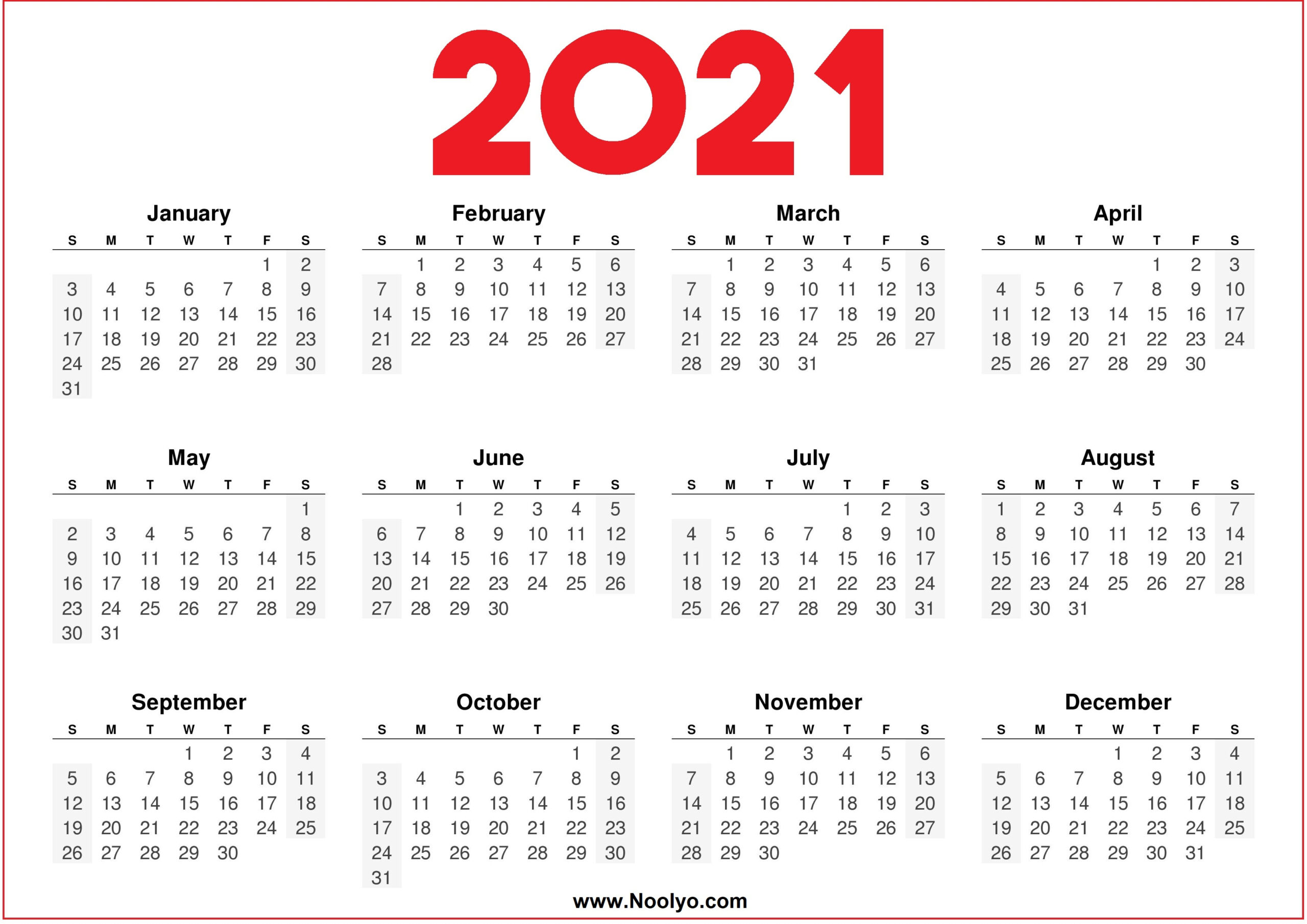 2021 Printable Downloadable Calendar Red And White