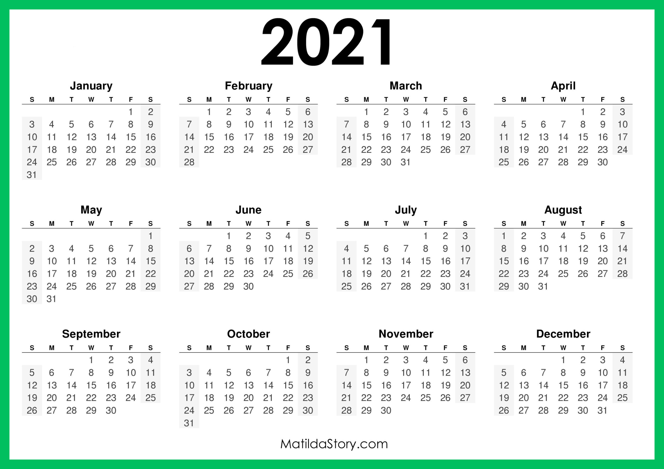 2021 Printable Free Calendar, Horizontal, Green – Sunday