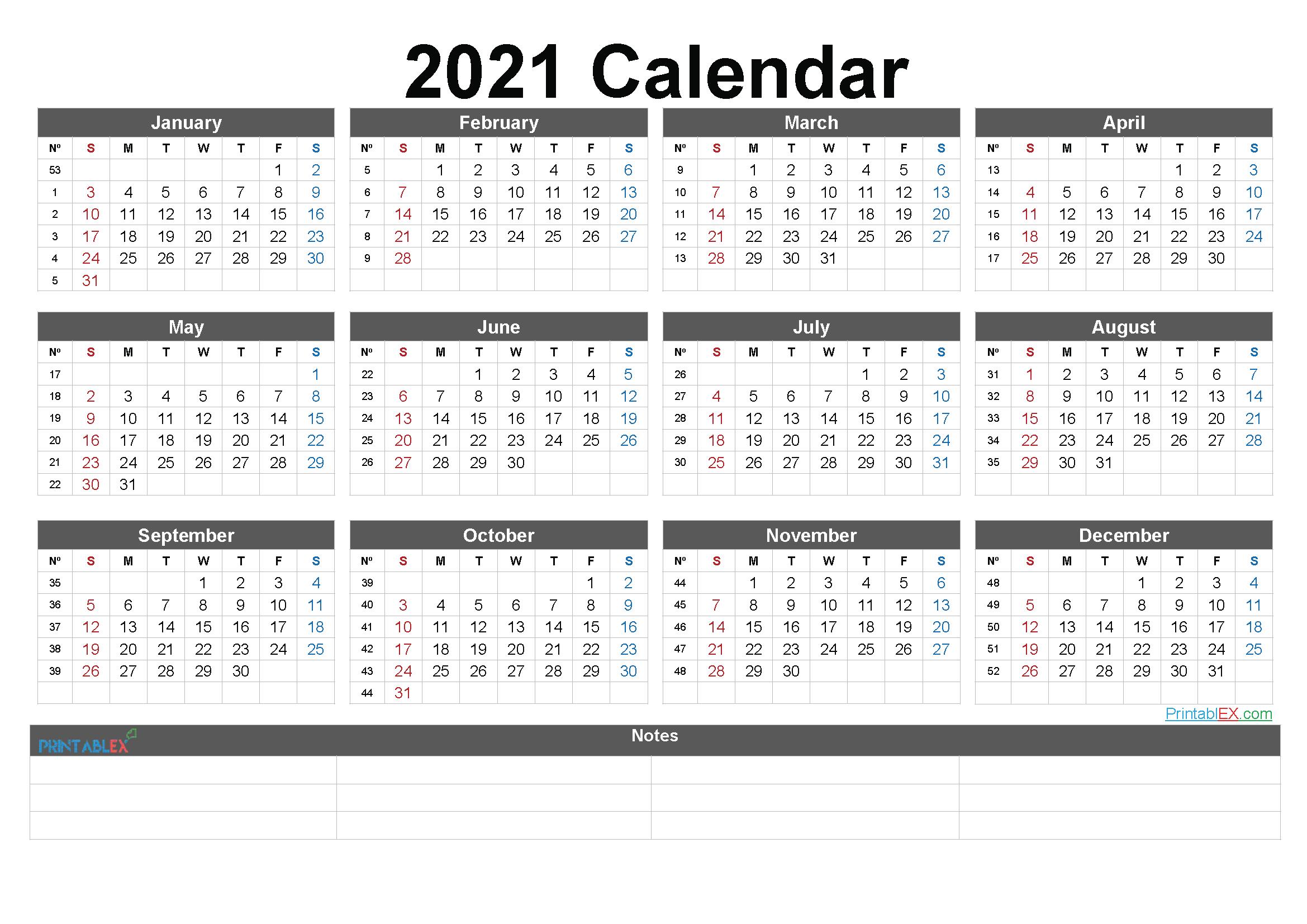 2021 Printable Yearly Calendar With Week Numbers – Free