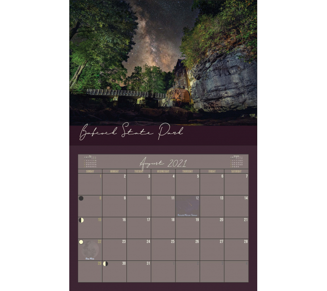 2021 West Virginia Night Skies Calendar Reflection In A Pool