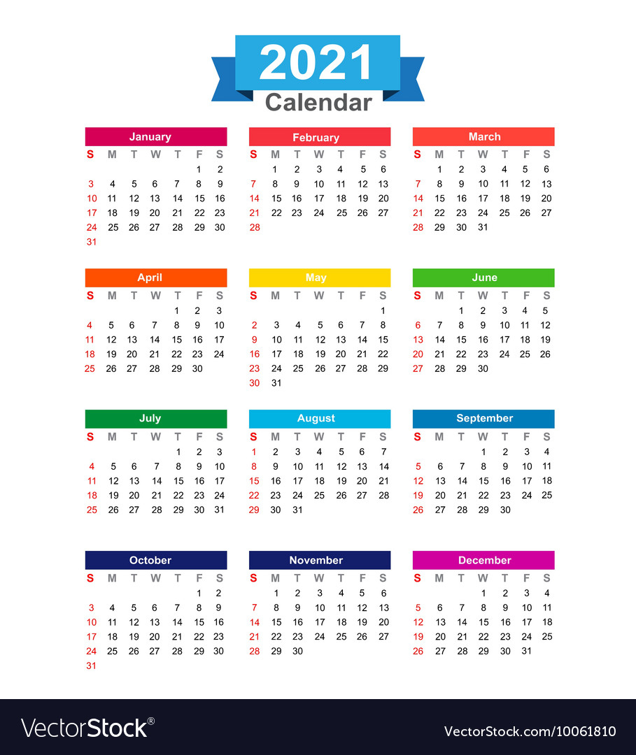 2021 Year Calendar Isolated On White Background Vector Image