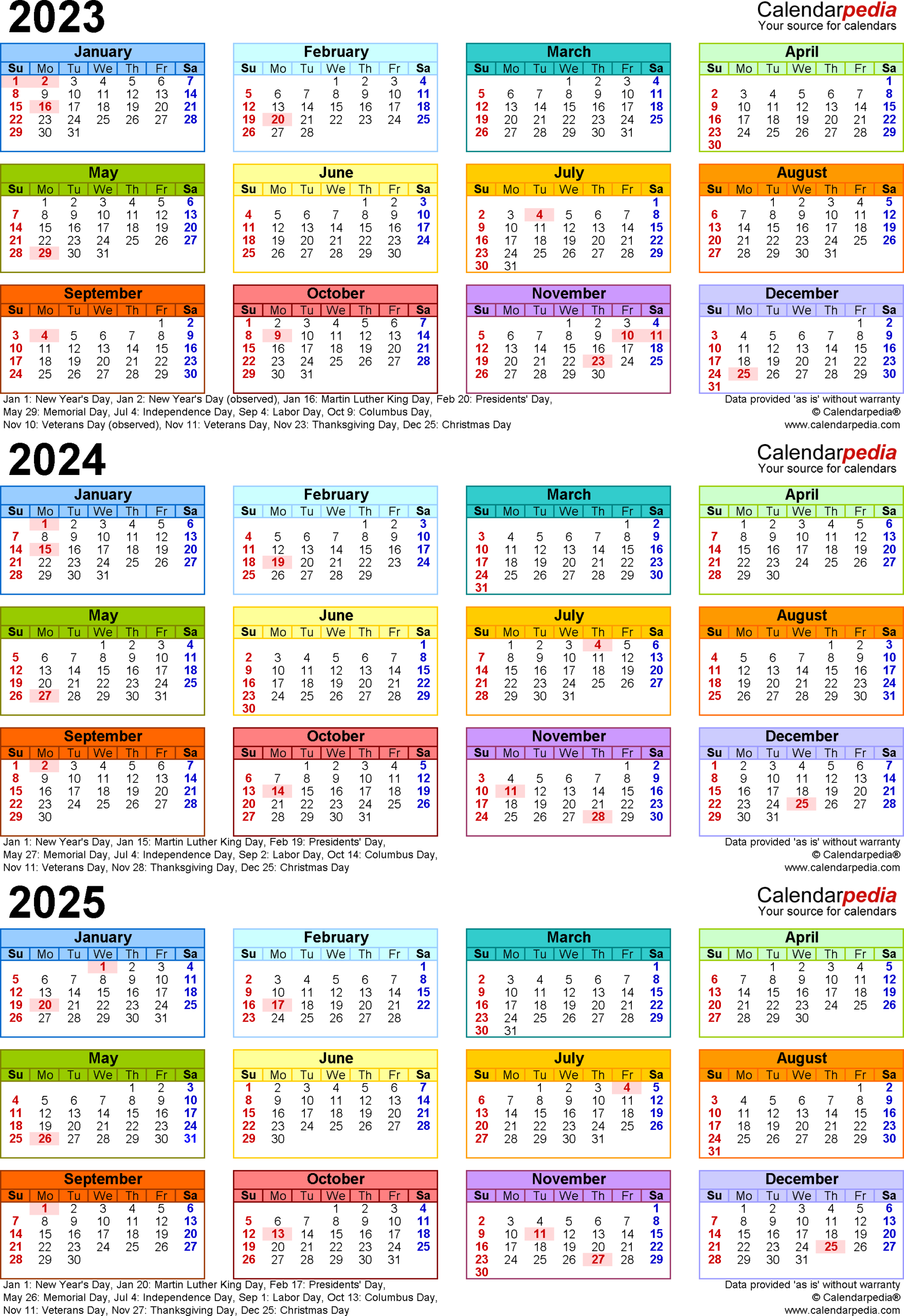 2023-2025 Three Year Calendar - Free Printable Excel Templates