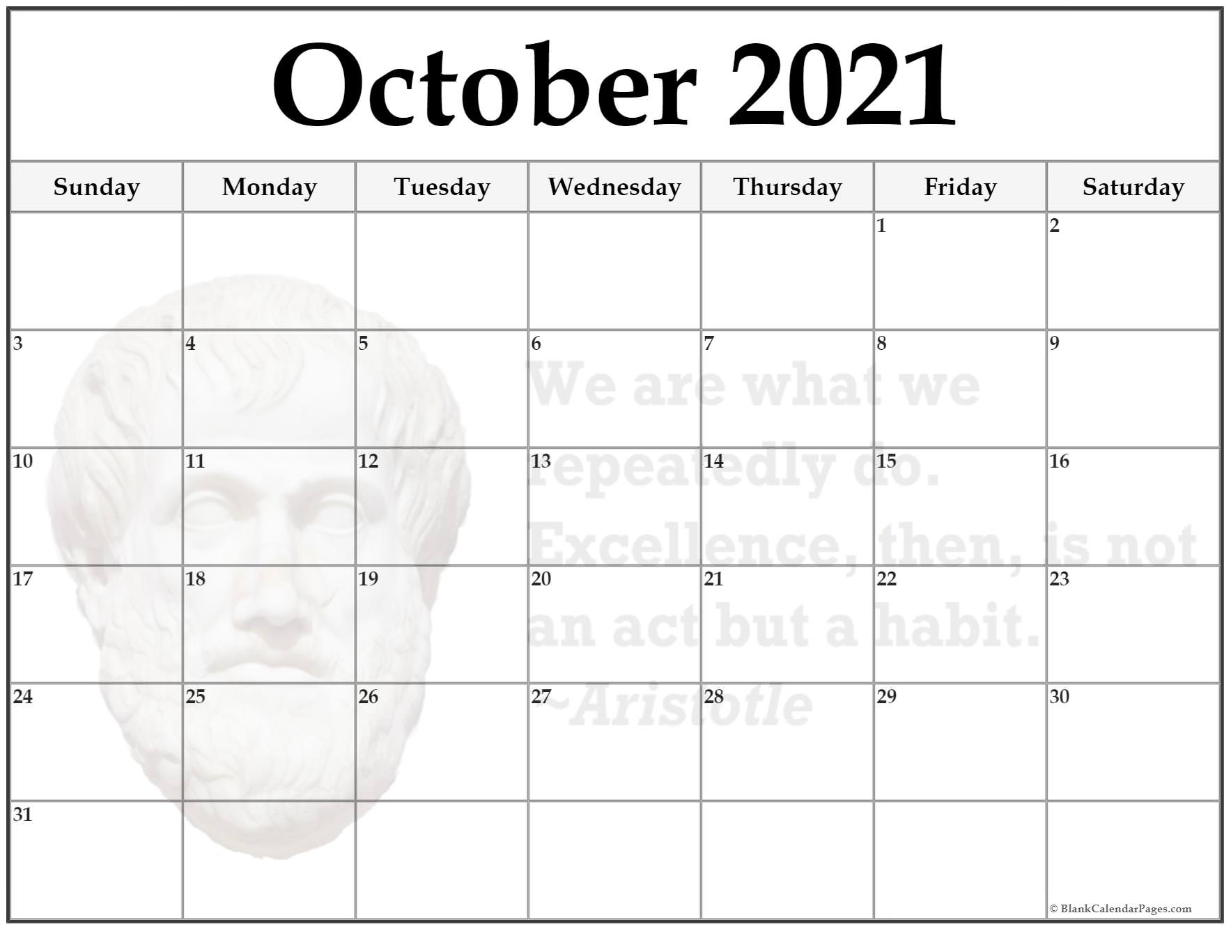 24+ October 2021 Quote Calendars