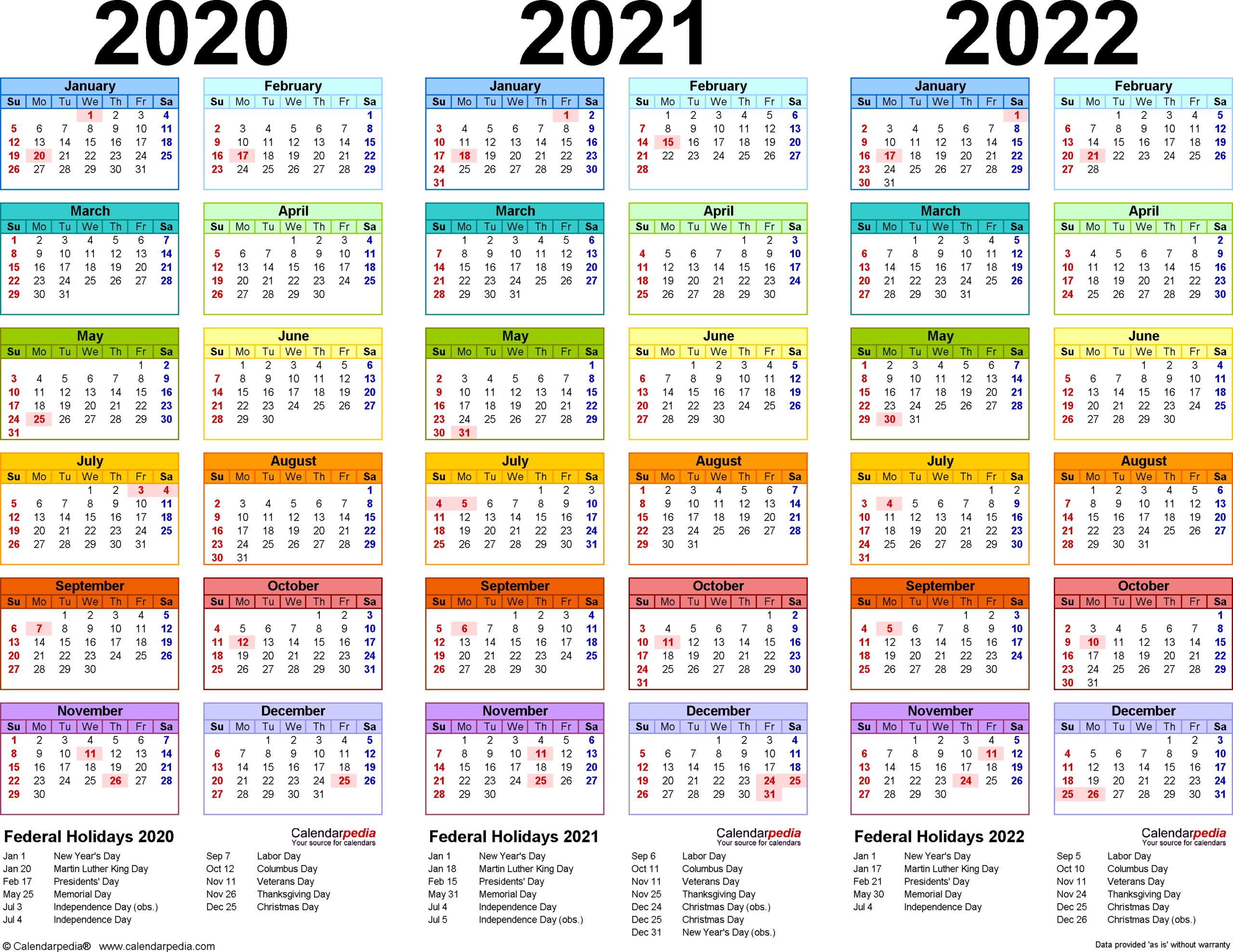 3 Year Calendar 2021 To 2023 | Calendar Printables Free