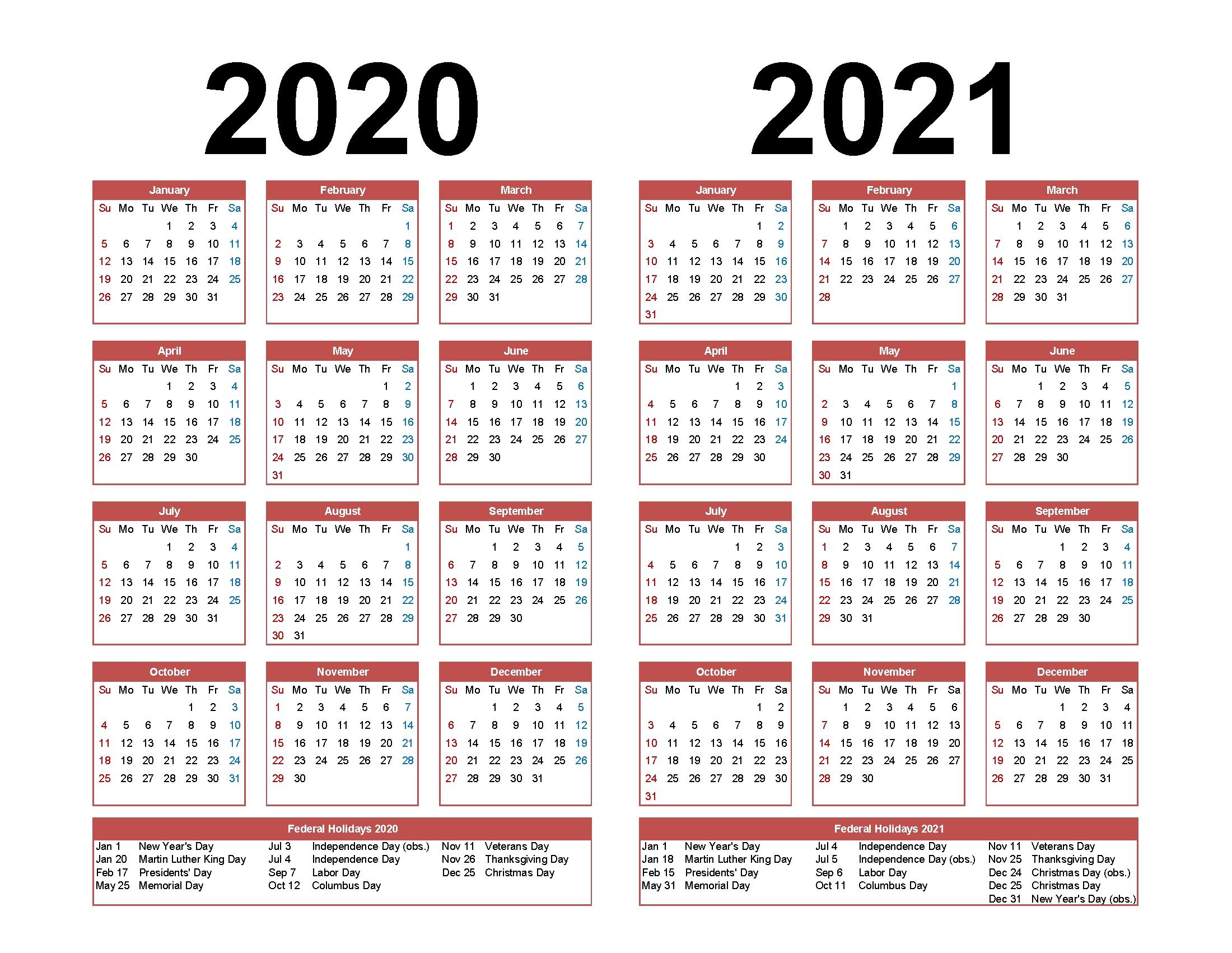 4 Year Calendar 2020 To 2021 | Month Calendar Printable
