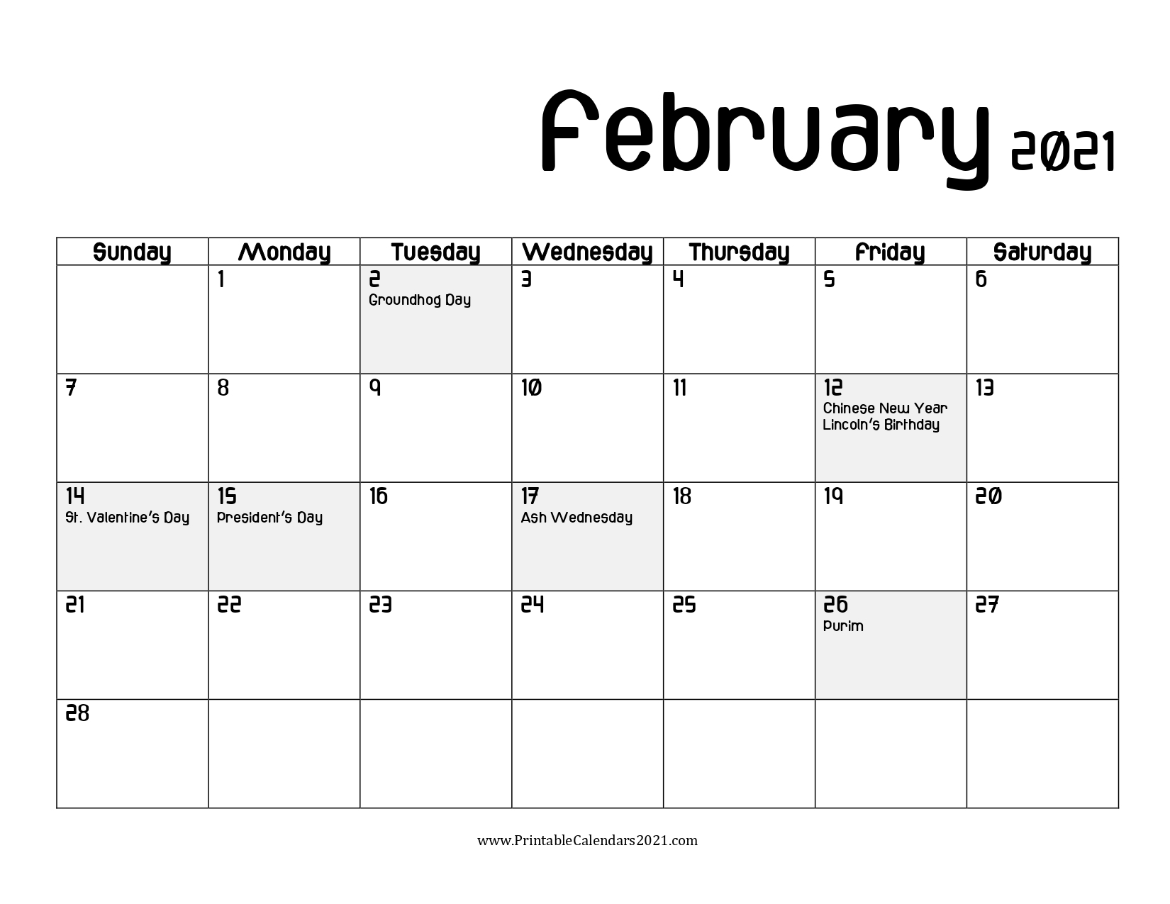 65+ Free February 2021 Calendar Printable With Holidays