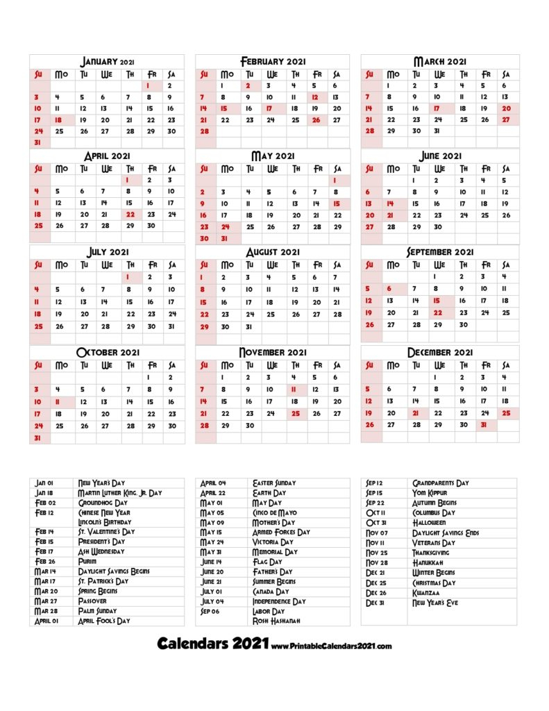 68+ Design Printable 2021 Calendar One Page With Holidays