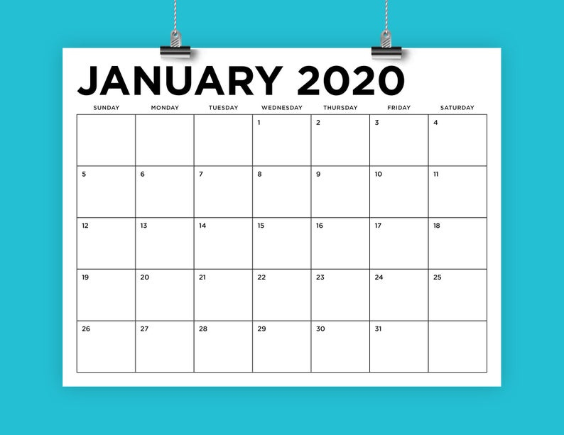 8.5 X 11 Inch 2020 Calendar Template | Instant Download