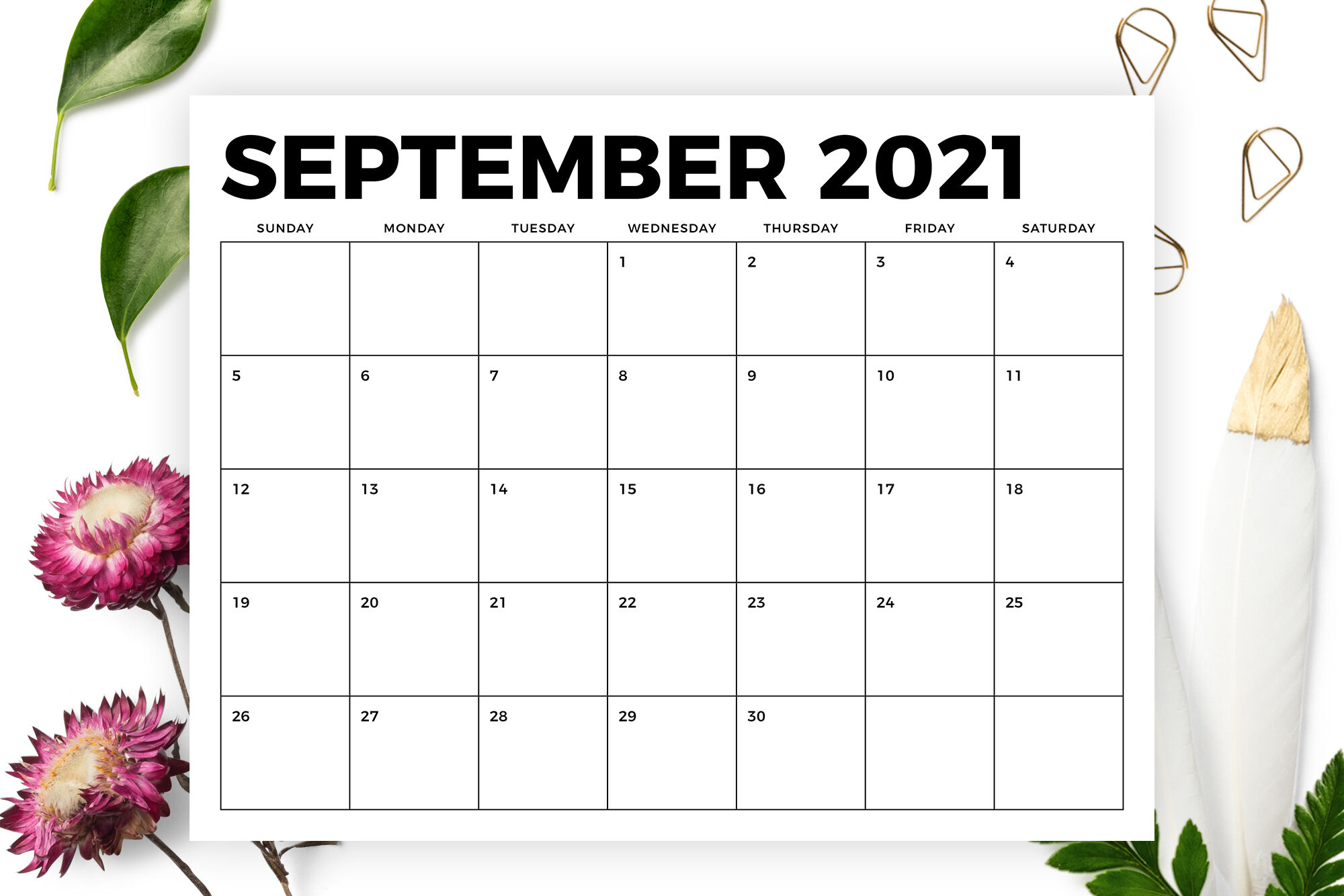 8.5 X 11 Inch Bold 2021 Calendar By Running With Foxes