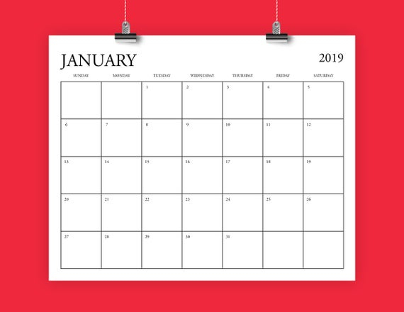 8X10 Inch 2019 Calendar Template Fits 8.5 X 11 | Etsy
