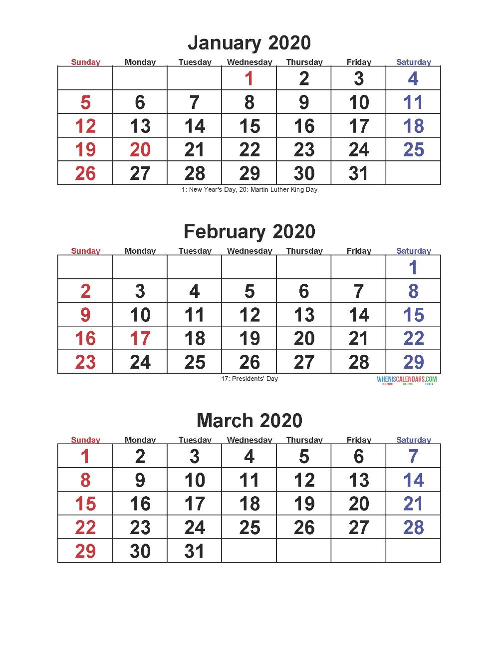 A3 Printable Calendar 2020 – Template Calendar Design