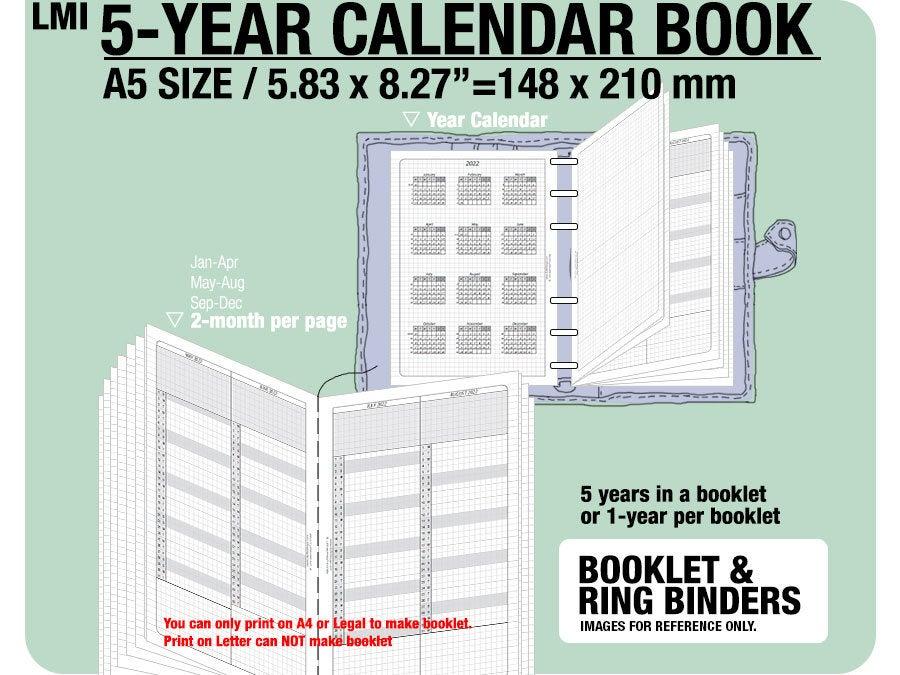 A5 5-Year Calendar Book / 2018 2019 2020 2021 2022 Inserts