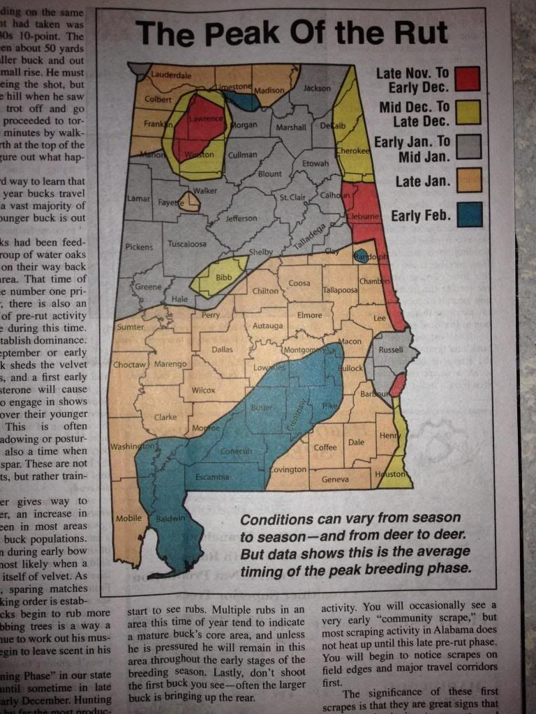 Alabama Deer Rut Map | Deer Hunting | Pinterest | Alabama